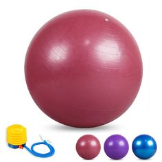 Rams Bro 550lbs Yoga Ball YH-Gym Fitball Yoga Balance Training Static Strength Exercise Ball Anti Burst Stability Ball (55/65/75cm Optionaled) with Air Pump (Pink, 55cm) *** Details can be found by clicking on the image.