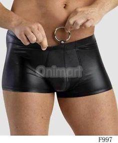 Sexy Ropa Interior Hombres Boxer Cuero PU Bajo Cintura Breve Anillo DE Metal MEN | eBay