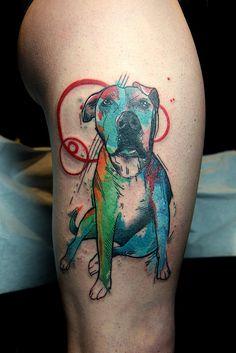 watercolor pitbull tattoo | by Deanna Wardin @ Tattoo Boogaloo