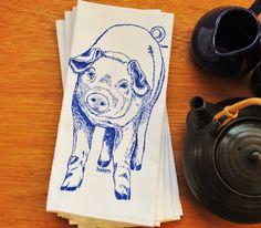 Set of Four Blue Pig Dinner Napkins $24 Click Here: https://www.etsy.com/listing/191443591/blue-pig-dinner-napkins-screen-printed?utm_source=Pinterest&utm_medium=PageTools&utm_campaign=Share
