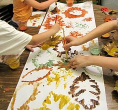 Group Leaf Printing with Natural Paints!  (use fabric paints and make a table runner?)