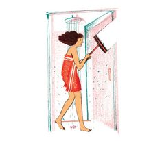 Illustration: woman with squeegee in shower.   How to clean stubborn spots from your shower door.