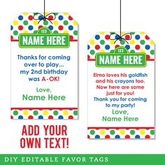Birthday Parties - Shop by Theme - Sesame Street Party - Chickabug Elmo Party Favors, Party Favor Tags, Favor Bags, Sesame Street Party, Sesame Street Birthday, Elmo Birthday, Birthday Parties, Under The Sea Party, Party Shop