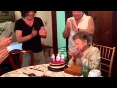 102-year-old loses her teeth as she blows out birthday candles - YouTube