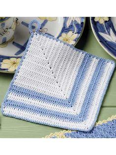 Crochet for the Home - Crochet Potholder Patterns - Blue and White Pot Holder