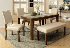 Furniture of America Natural Reyna 6-Piece Stone Top Dining Set, Brown
