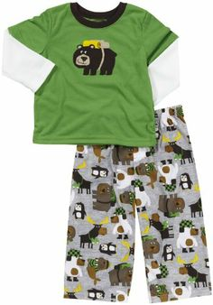 Toddler 2 Piece Poly PJ Set - Camping Bear He will love his night time wash up while wearing these comfy 2-piece micro-fleece PJs. The set includes long pants and a long sleeve shirt.. Brand: Carter's.  #Carter's #Apparel