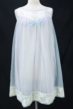 ecf417cd7 Vintage 60s Sears Dusty Blue Double Nylon Chiffon Overlay Babydoll Nightgown  L