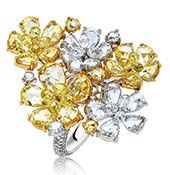 Nirav Modi - yellow-and-white diamond ring from the Fluire collection