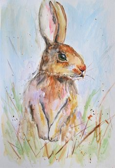 original hare painting hare standing in grass bunny rabbit