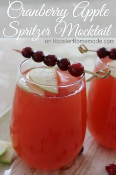 Cranberry Apple Spritzer Mocktail : Easy 3 ingredient drink for your holiday dinner! Recipe on HoosierHomemade.com
