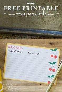 Free Printable Recipe Cards - super cute!