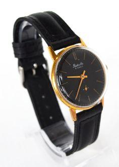 Men's Black Vintage Watch Collectibles USSR RAKETA #Raketa #Fathersday #Luxury #Gold #watch #gifthim #Casual #Hipster #collectibles #black