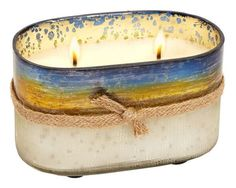 Gold Distressed Oval Glass Woody Tobacco Scented Candle- 4''