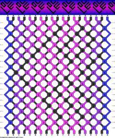 Friendship bracelet - pattern 71680 -  19 strings 6 colours - Blue/purple Love