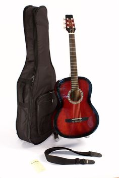 GWG 100R Left Handed Acoustic Guitar 6 String Steel Adult Folk Size Glossy REDBURST Finish Set Up In My Shop For Easy Play Includes Strap Case