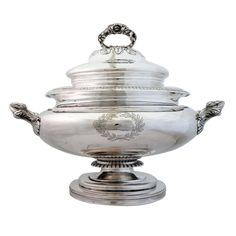 1stdibs - Exceedingly Rare J & I Cox 1840 Coin Silver Soup Tureen W/liner