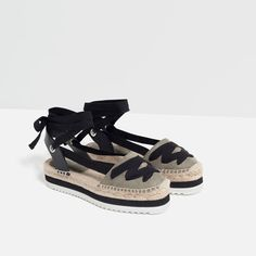 LEATHER LACE-UP ESPADRILLES from Zara