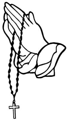 Amazon Com Praying Hands With Rosary Sticker Decal White 7 X3 8 Arts Crafts Sewing Praying Hands With Rosary Praying Hands Praying Hands Drawing