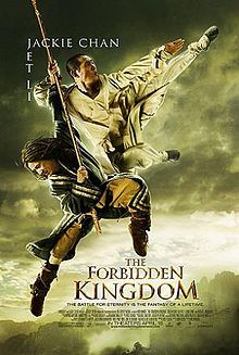 The Forbidden Kingdom (Chinese:功夫之王) is a 2008 Chinese-American martial arts action adventure film. Written by John Fusco and directed by Rob Minkoff, it is the first film to star together two of the best-known names in the martial arts film genre, Jackie Chan and Jet Li. The action sequences were choreographed by Yuen Woo-ping.