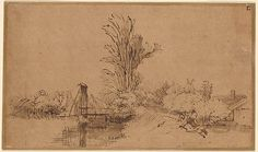 Rembrandt Harmenszoon van Rijn Canal and Bridge Beside a Tall Tree with a Couple Seated on the Embankment, I, 202 Rembrandt Drawings, Building Drawing, Dutch Golden Age, Ink Pen Drawings, Morgan Library, Plant Drawing, Landscape Drawings, Drawing Practice, Old Master