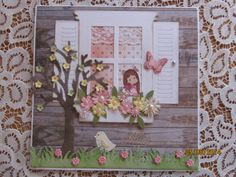 Mothers Day Card using Diemond Dies - Bare Tree, Window Box set, Mini Must Have, Grass Border and a Mini Magnolia Image.