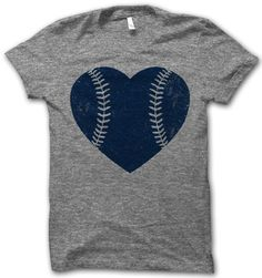 Baseball Heart Navy by ThugLifeShirts on Etsy