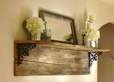 """Barnwood shelf...this is why I am on the lookout for an old falling down barn. I want to make a shelf for a """"desk"""" and use crates for storage."""