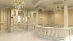 Marble: The palatial house is decked out in gold tones, marble pillars and crystal chandeliers
