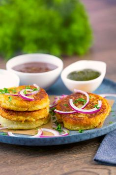 Aloo tikki are delicious potato patties stuffed with a blend of veggies and spices. The result is a flavorful Indian version of a hash brown patty we know you'll love! These disc shaped potato patties are an irresistible way to sneak in extra veggies to your comfort food. Our air fryer version lightens up the recipe so you can feel even better enjoying this tasty treat and feeding it to your family! Vegetarian Cooking, Vegetarian Recipes, Aloo Tikki Recipe, Potato Patties, Green Chutney, Chaat Masala, Balanced Diet, Salmon Burgers, Yummy Treats