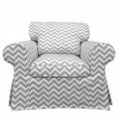 ^ $204 cover to Ektorp Armchair - which is about 250.  Also comes in black and white and pink and white and yellow and white.  Or could put in F's playroom