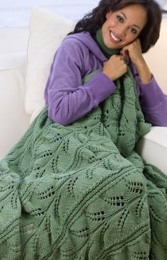 Hawaiian Lacy Fern Throw Free Knitting Pattern from Red Heart Yarns