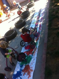 Beansprouts Preschool Blog: Bike Painting Revisited
