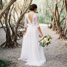 2016 Spring Boho Wedding Dress With Sheer Long Sleeves Sexy Backless V-Neck Lace Vintage Bridal Gown Plus Size Vestido De Noiva