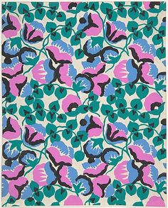 Fabric Design with Sweet Pea Flowers and Vines  ca. 1918–25 Attributed to Paul Poiret (1879–1944)
