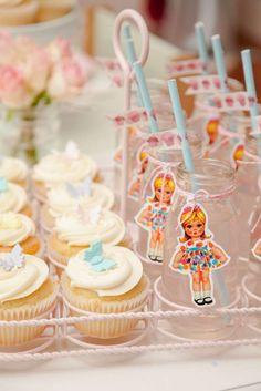 Treats and drinks at a Paper Doll Birthday Party!  See more party planning ideas at CatchMyParty.com!