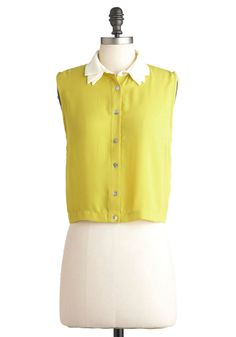 Quince I Can Remember Top - Yellow, White, Casual, Sleeveless, Short, Neon, Solid, Buttons, Cropped