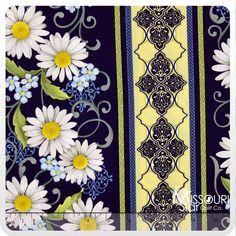He Still Loves Me - Daisy Stripe Blue Yardage from Missouri Star Quilt Co