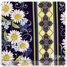 He Still Loves Me - Daisy Stripe Blue Yardage from Missouri Star Quilt Co