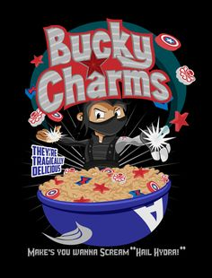 Bucky charms. Funny avengers captain america the winter solider hilarious picture. Humor. - visit to grab an unforgettable cool 3D Super Hero T-Shirt!