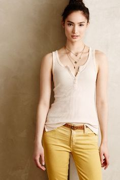 Ribbed Henley Tank - #anthrofave