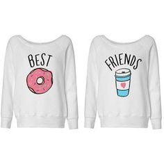 Best Friends Donut and Coffee Duo Wideneck Sweater Shirt for Best Friend Bestie Shirt Bff Shirt;