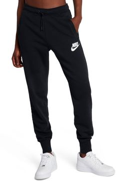 Main Image – Nike Sportswear Rally Fleece Pants - All About Sporty Outfits, Nike Outfits, Athletic Outfits, Cute Sweatpants, Sweatpants Outfit, Nike Sportswear, Black Nike Joggers, Joggers Womens, Fleece Pants