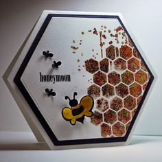 handmade card ... hexagon shape with bees and hive look inside .. Memory Box Stencil And Gilding Flakes ... delightful card!