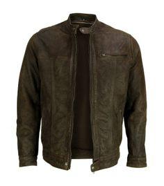 VIPARO   Marble Brown Slim Button Collar Moto Leather Biker Jacket - Levi