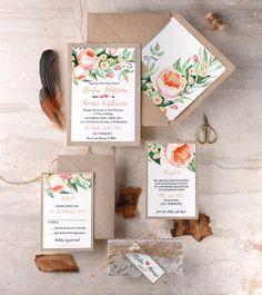Boho Wedding Invitations with peach flowers!
