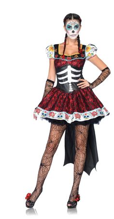 Dia De Los Muertos (Day of the Dead) costume available on TrendyHalloween.com  #DayoftheDead #DiaDeLosMuertos #Halloween #Costumes #Skeleton #Skeletons #Dress