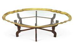 Brass Table w/ Wood Base