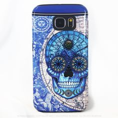 Astrological Skull Galaxy S6 Case - Astrologiskull - Blue and Tan Sugar Skull S6 Tough Case