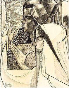 Jean Theodoor Toorop (1858 – 1928).  Meditatie / Meditation  1921  Charcoal on paper  28.2 x 22.1 cm